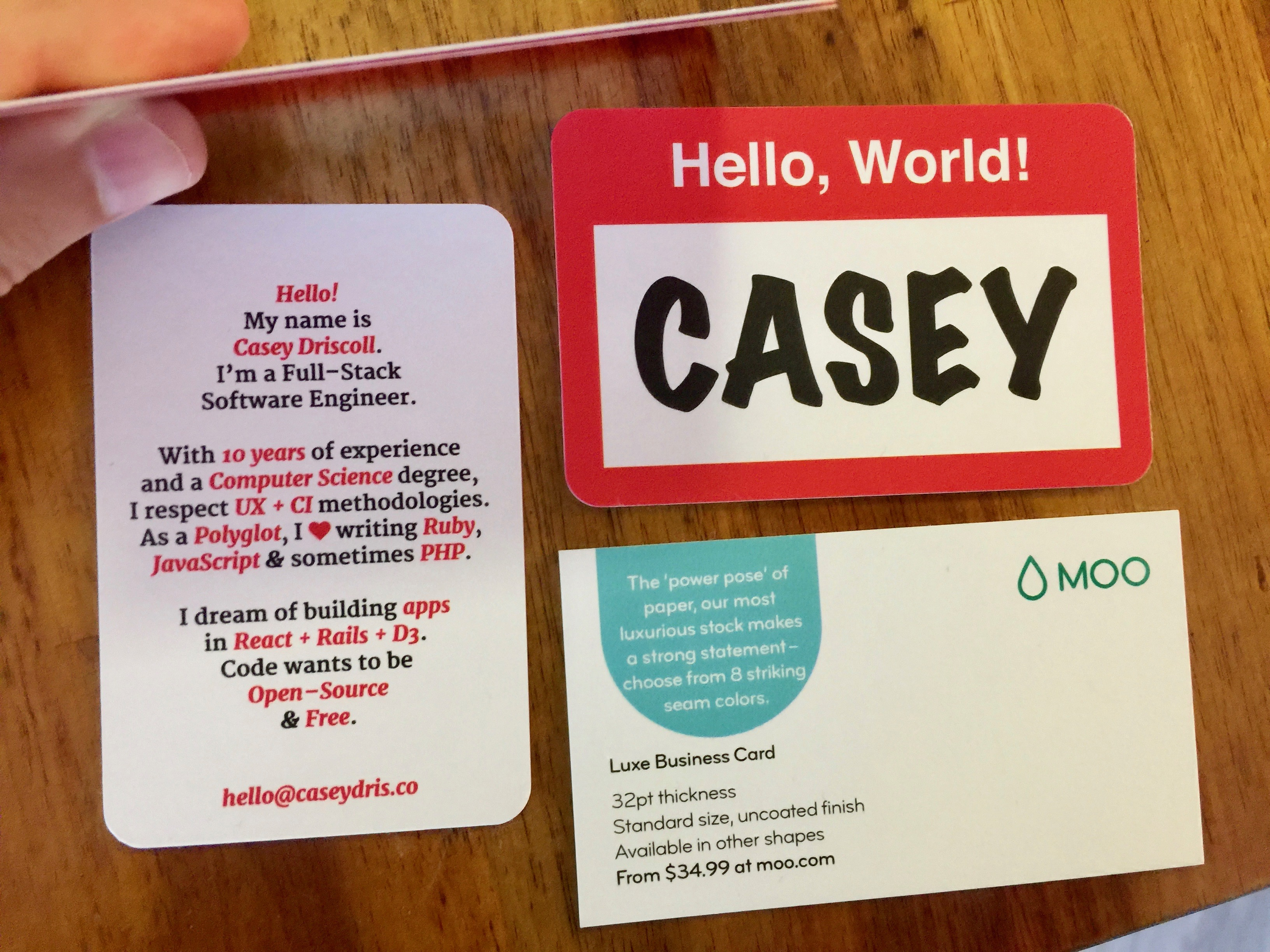 Hello new personal business card casey driscoll the moo size cards are more square shaped compared to a conventional business card reheart Gallery