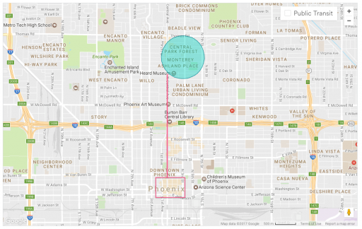 A map of Phoenix that shows my AirBnB is right of the light rail that connects directly to the RailsConf convention center